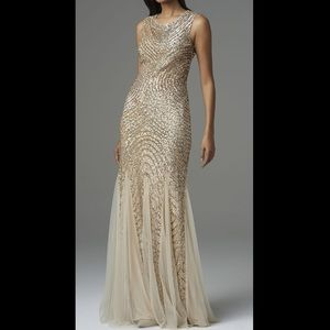 Aidan Mattox Gold Sequin Backless Gown